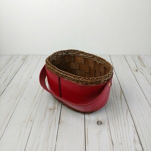 Other - Wicker Gift Basket Carrying Handle Outer red brown